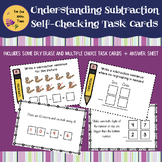 Understanding Subtraction - Self-Checking Task Cards - Fun