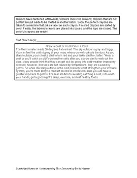 Understanding Text Structure Scaffolded Notes