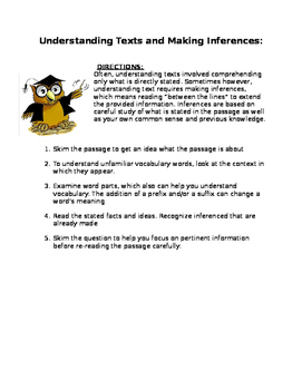 Understanding Texts and Making Inferences: helpful tips