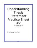 Understanding Thesis Statement Worksheet Two