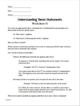 Understanding Thesis Statement Worksheets #1, #2, #3 | TpT