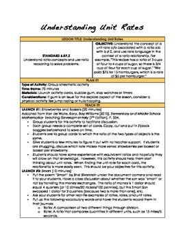 Understanding Unit Rates- 6.RP.2: Complete Lesson Plan