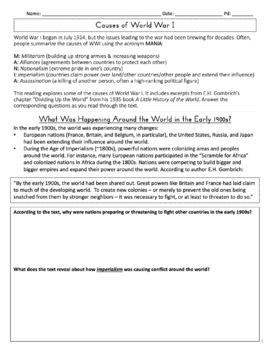 Understanding WWI Reading Worksheet (Alliances, Imperialism, Causes, Events)