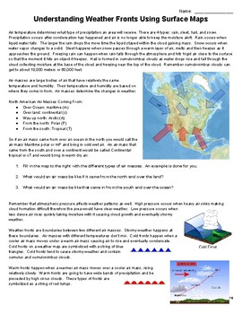 Understanding Weather Fronts by Analyzing Surface Weather Maps Activity