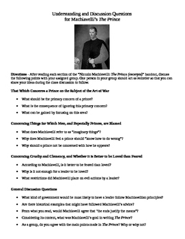 Understanding and Discussion Questions  for Machiavelli's The Prince