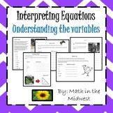 Understanding & Interpreting Variables {Meanings of Expressions} 6.EE.2 & 7.EE.2