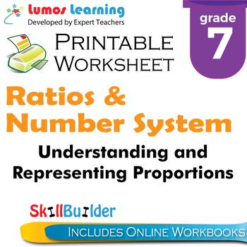 Understanding and Representing Proportions Printable Worksheet, Grade 7