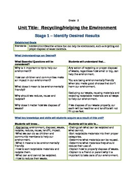 Understanding by Design Recycling Unit Plan