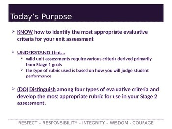 Understanding by Design Stage 2 Part 2 PPT