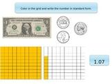 Understanding decimals (standard, money, place value, number lines, models)