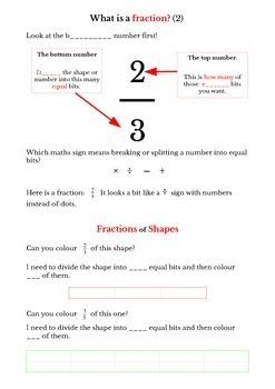 Understanding fractions of shapes and numbers