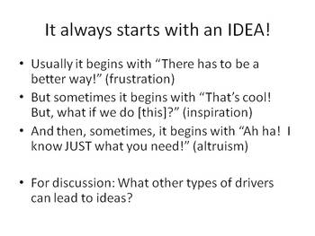 Understanding how ideas become products -- the Business Plan