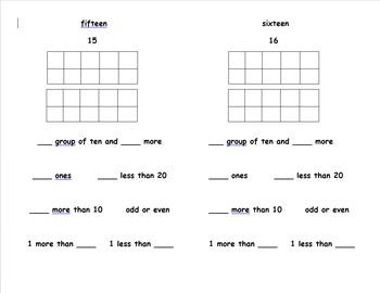 Understanding numbers 11 - 20