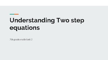 Understanding quantities and two step equations