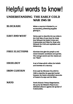 Understanding the Cold War Key Words