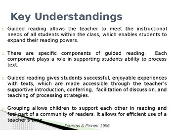 Understanding the Components of Guided Reading Presentation
