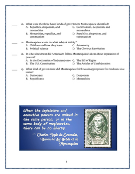 Enlightenment Worksheets and Puzzle: Locke, Montesquieu, Rousseau