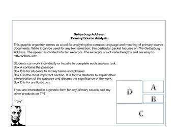 Understanding the Gettysburg Address Graphic Organizer
