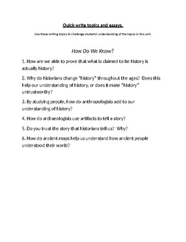 Understanding the Past Writing Topics and Essay Questions