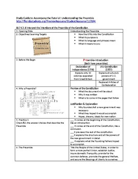Understanding the Preamble - Study Guide & Answer Key