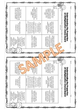 Understanding the Properties of Multiplication Editable Choice Board