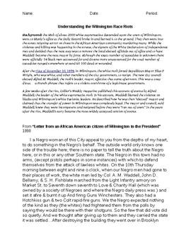 Understanding the Wilmington Race Riots DBQ