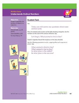 Understands Ordinal Numbers (Math Assessment PreK)