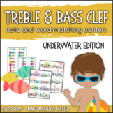 Treble Clef & Bass Clef Note Matching Centers - Underwater Adventure Edition