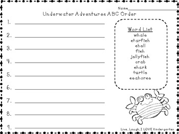Underwater Adventures: Ocean ABC Order