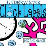 Underwater Clock Labels: Ocean Classroom Theme Decor