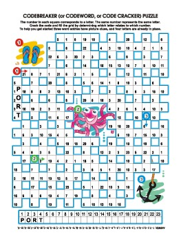 Underwater Codebreaker Word Puzzle, Illustrated, Commercial Use Allowed