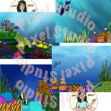 Underwater Ocean Coral Reef Backgrounds/ Digital Papers