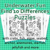 Underwater Fun Find 10 Differences Puzzles