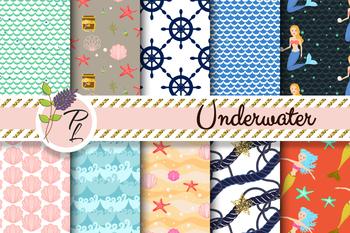 Underwater Mermaid World Seamless Pattern Set. Digital paper pack.