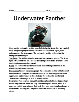 Underwater Panther - Cryptid Mythology Under World lesson information question