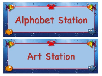 Underwater Sea Creature Themed Station/Center Signs Great Classroom Management!