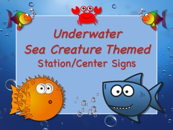 Underwater Sea Creature Themed Station/Center Signs Great
