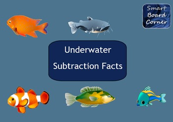 Underwater Subtraction Facts SMART Board Matching Game