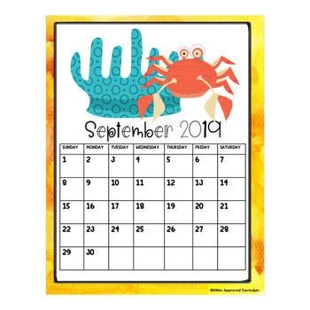 Underwater Theme Classroom Editable 2019 Calendar Printable