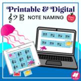 Underwater Treble, Bass, Alto Clef Notes: Printable Center