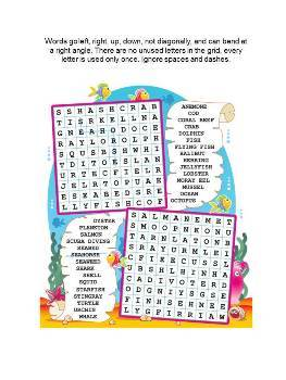 Underwater World Word Search Puzzle, Illustrated