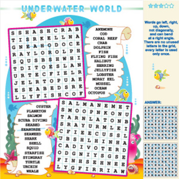 Underwater World Word Search Puzzle, Illustrated, Commercial Use Allowed