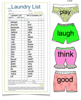 Sight Word Underwear: Purposeful Play