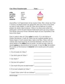 Une Fête d'Anniversaire Lecture en Français: Birthday Party Reading