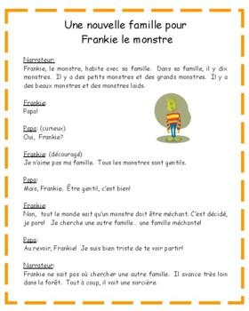 Une nouvelle famille pour Frankie le monstre - French printable activities