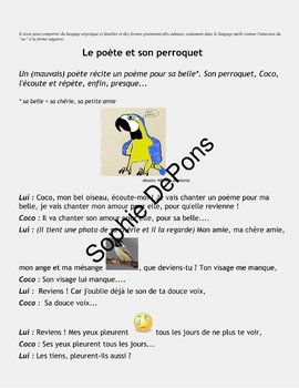 French reading - Possessifs  - Dialogue w/ exercises - Le poète et son perroquet