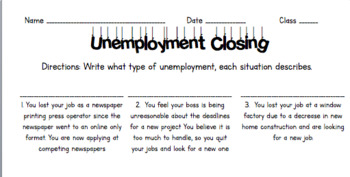Unemployment Lesson- PowerPoint and Worksheet