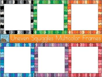 Uneven Squiggles Multicolor Frames