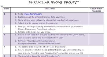 Unfamiliar Idioms Project