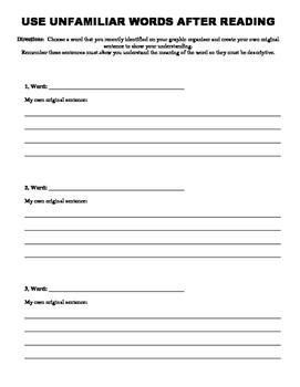 Unfamiliar Vocabulary Graphic Organizer Synonym and Antonym recording sheet